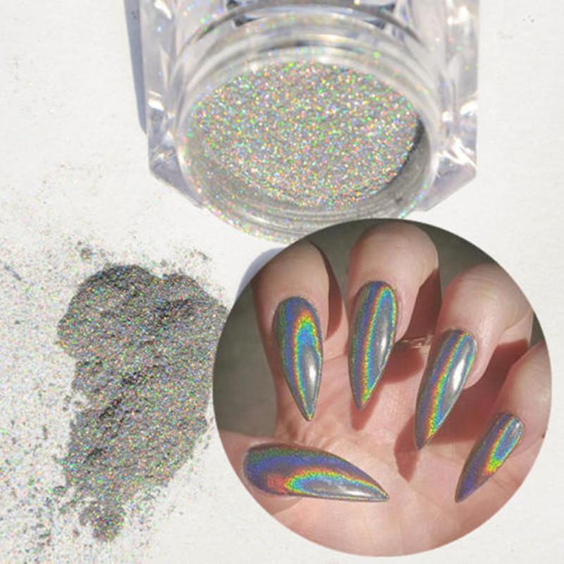 Holographic Laser Nail Glitter Powder Holo Rainb Nail Tips Chrome