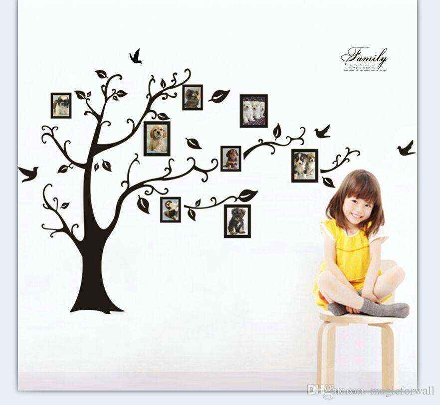 Black Memory Tree Wall Art Mural Decor Sticker Picture Tree Wall Graphic Poster Large Tree with Picture Frame Wall Applique 250 X 180cm