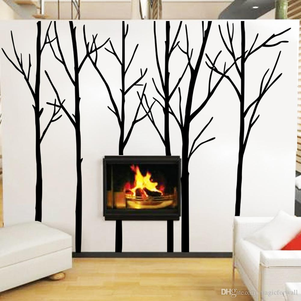 Extra Large Black Tree Branches Wall Art Mural Decor Sticker Transfer Living Room Bedroom Background Wall Decal Poster Graphic 288 x 200CM