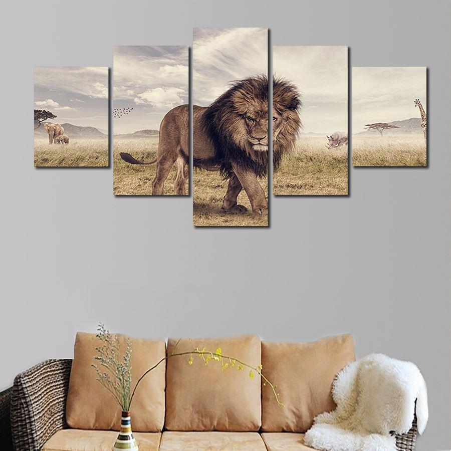 2016 Hot Unframed 5 Pcs Abstract HD Lion Wall Picture Decorative Art Print Painting On Canvas For Living Room Home Decoration