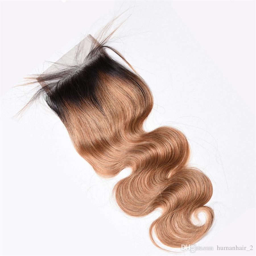 Ombre Miel Blonde 4 * 4 Dentelle Fermeture Avec des Cheveux de Bébé Autour de Vague de Corps Brésilien Vierge Cheveux Humains T1b 27 Top Fermeture Noeuds Blanchis