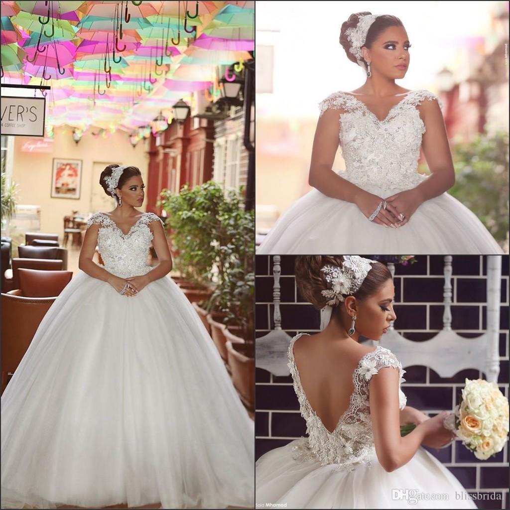 Cinderella Ball Gown Wedding Dresses 2016 V Neck Open Back Vintage ...
