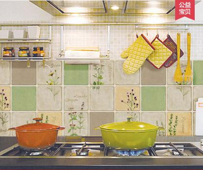 Wall sticker kitchen tile wallpaper 3d wall paper roll for 3d wallpaper for kitchen walls