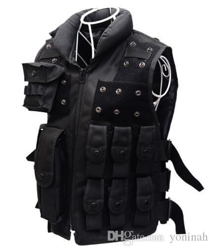 Großhandel Männliche SWAT FBI Militärische Armee Taktische Weste Herren Outdoor Trainingsweste Ärmellose Jacke Männer Viele Multi Taschen Jagdweste