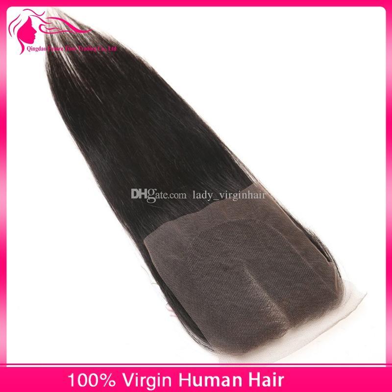 8A средний свободный 3 трехходовая часть прямое закрытие бразильский человеческих волос кружева верхней части закрытия кусок 4x4