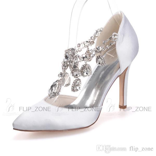 Sparkly Rhinestones Pointed Toe Wedding Shoes High Stiletto Heels