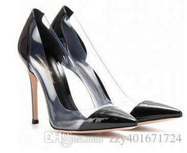 Igual a Gianvito Rossi 2015 Las últimas mujeres de moda de tacones altos Zapatos exclusivos de cuero y zapatos de vestir de punta de PVC
