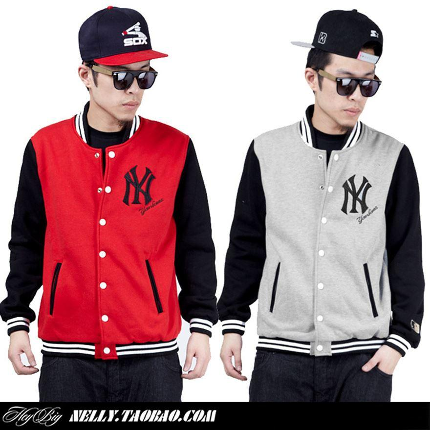 Ny Jacket Men High Quality Leather Sleeve New York Winter Baseball ...