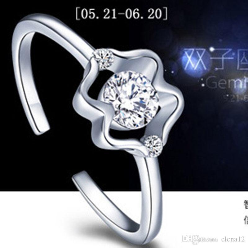 Zodyak s925 gümüş yüzükler Kadın açılış CZ Yüzük Avrupa ve Amerikan retro çift yüzük parmağı Yüzük Oniki takımyıldızları