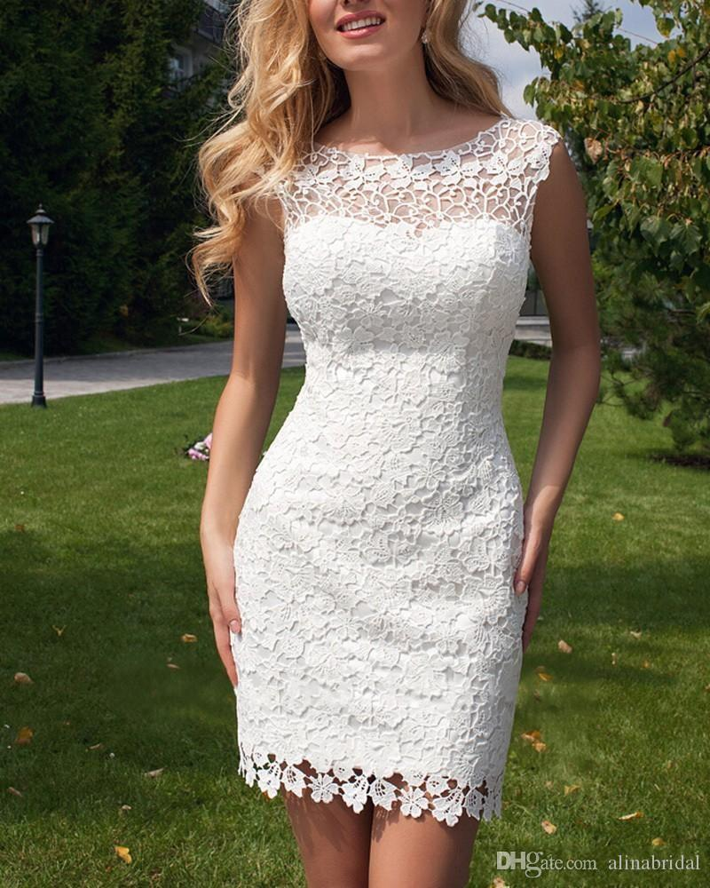 Detachable Train Romantic Lace Wedding Dresses 2016 Vestidos De Noiva Sheer neck Sexy Hollow Overskirts Dresses Short Sheath Bridal Gowns