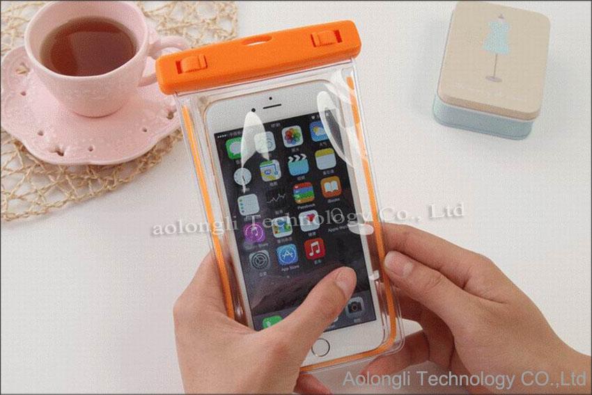 Universal Luminous Underwater Phone Bag Bolsa de la bolsa a prueba de agua Funda de piel seca para el teléfono celular iPhone 5 6 plus S6 edge S5 Note 5