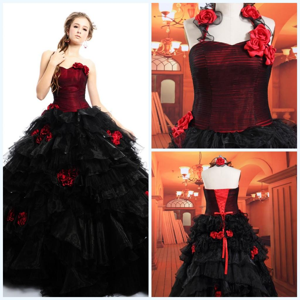 Gothic wedding shop - Gothic Wedding Dresses 2015 Prom Party Fluffy Custom Made Cheapactual Image Tulle Ball Gown Sexy Sweetheart Red Black Floor Low Bridal Gowns Princess Gown