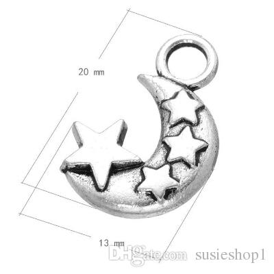 - Tibetan Silver Moon and Star Pendants Necklace Charm Jewellery findings DIY craft