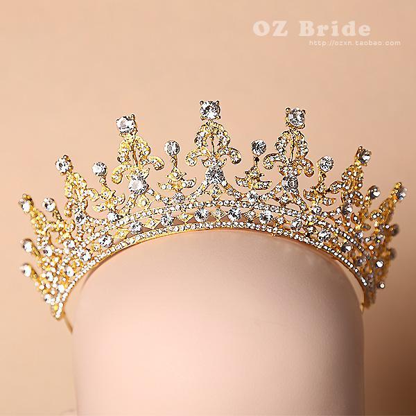 Luxury Gold Rhinestone Crystal Bridal Tiaras Wedding Crown 2015 Headband Hair Accessories Pageant Party Tiara