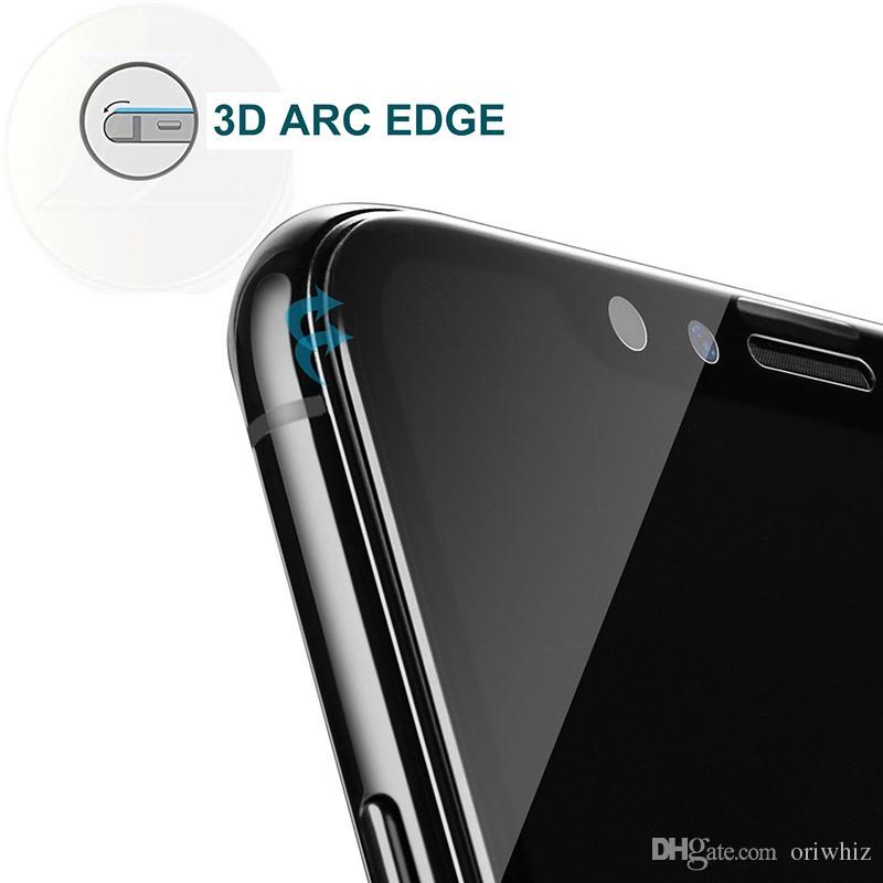iPhone X 8 Pellicola protettiva schermo in fibra di vetro lucida in fibra di vetro 9H 3D lucida iPhone 7 7 Plus 6 5