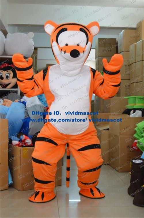 famous orange tigger tigress tiger tigerkin mascot costume cartoon character with long thin tail white square belly no2658 fs - Tigress Halloween Costume