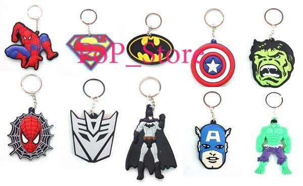 DHL/EMS ! New Super hero spiderman Batman Captain America logo Keychain PVC Key Chains