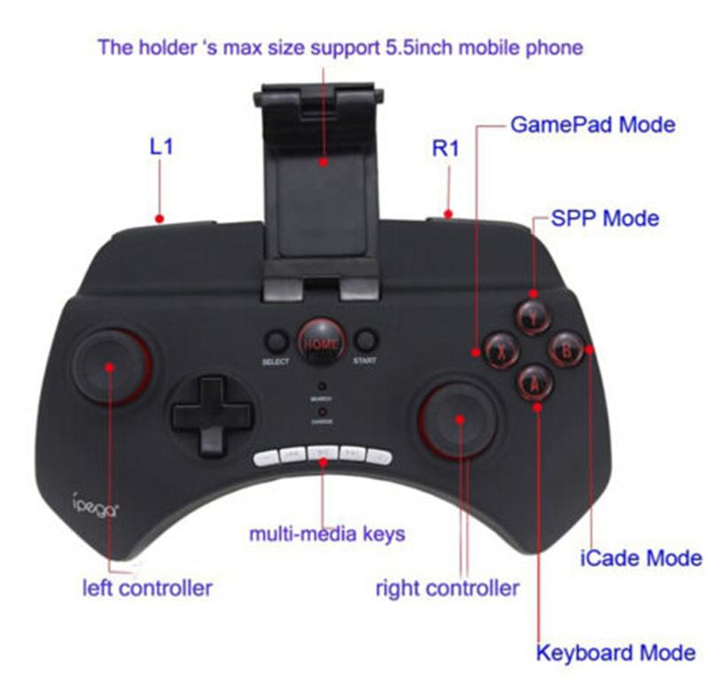 Ipega PG-9025 Gaming Bluetooth Controller Gamepad Joystick Für iPhone iPad Samsung HTC Moto Android Tablet PCS Schwarz / Weiß