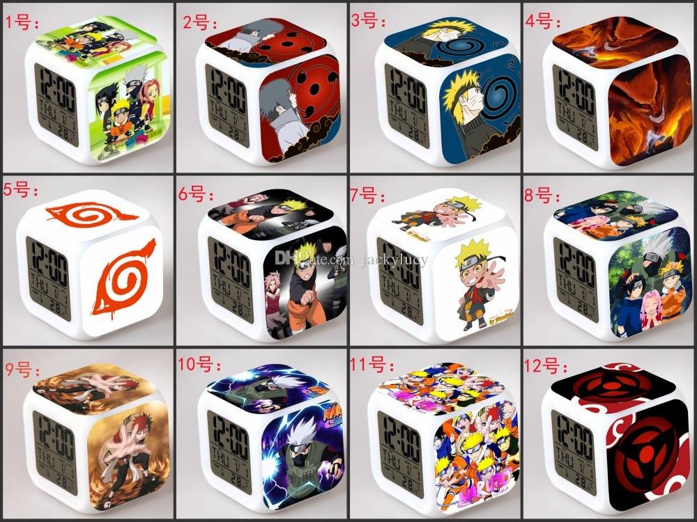 New 2016 Fashion Cartoon Anime Figure Naruto Colorful LED Digital Alarm Clocks Night Light For Kids Best Gifts