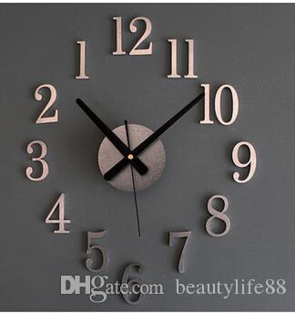 عكس ساعة الظهر المعدنية الحقيقي 3d ستيريو diy diy ساعة الحائط الإبداعية أزياء الساعات جرس الانعكاس