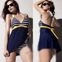 قطعة واحدة المايوه بحار الشريط المرأة مبطن ملابس الشاطئ ملابس السباحة اللباس الأزرق الداكن زائد حجم بيكيني tankini المرفقة أسفل