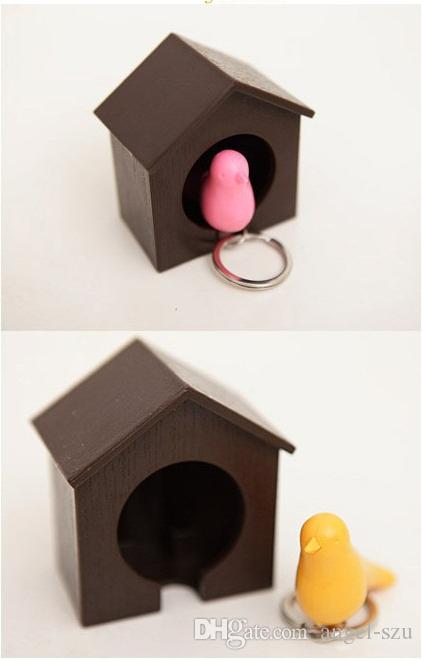Hot selling Sparrow Bird House Nest Whistle Key Holder Chain Ring Keychain Holder Boxed mix color top quality E451L
