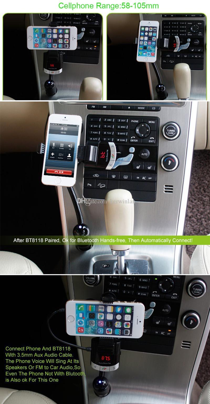 Bluetooth Car Kit With Remote Controller Phone Holder FM Transmitter Car Mp3 Music Player Car Holder Charger For iphone Samsung Smartphone