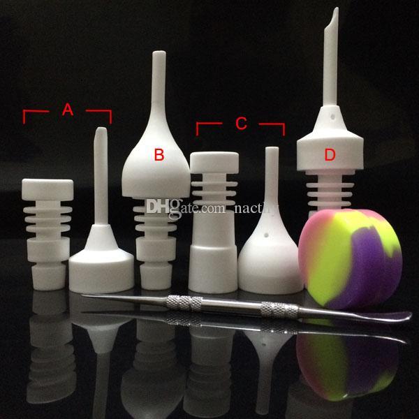 DHL Free Bong Set di strumenti in vetro 14mm 18mm Chiodo in ceramica maschio o femmina con tappo in carb Dabber Strumento Slicone Container tubo di vetro