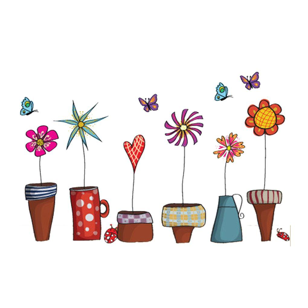 Wall stickers diy - Cartoon Flower Butterfly Wall Stickers Diy Decal Window Glass Wall Decor Home Decoration Kids Children Room Decor