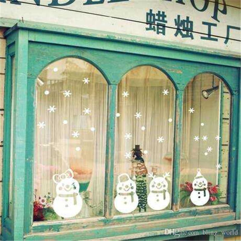 Snowflake Wall Stickers Christmas Shop Window Snowman Stikers Xmas Home Decor Mural New Year Decoration PVC Removable Wholesale LDH57