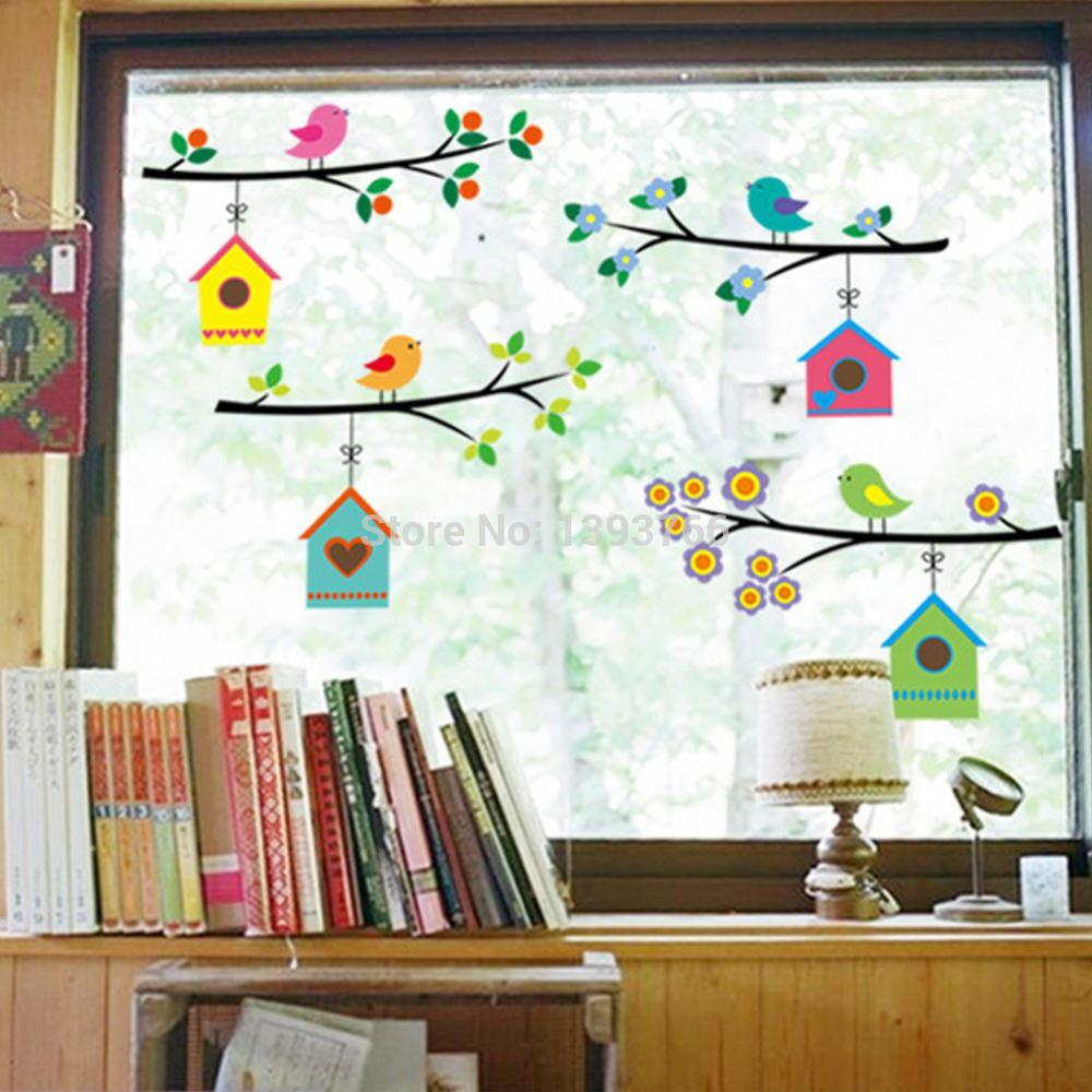 Living Room Decals fashion vintage branch bird cage wall stickers removable living