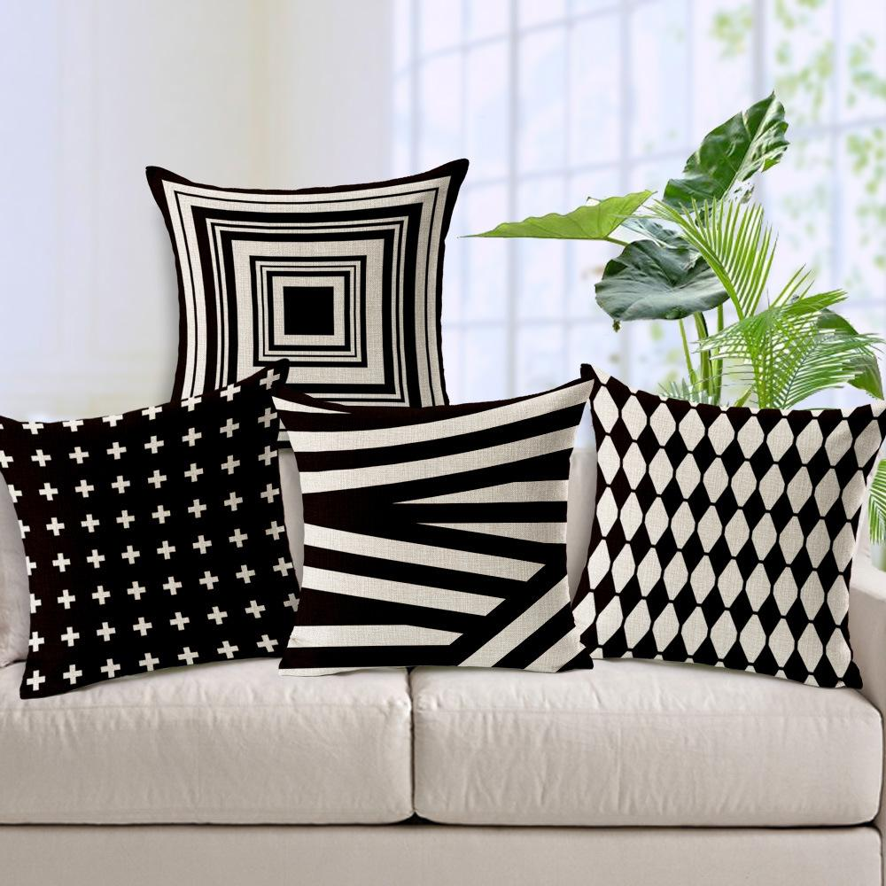 abstract black and white geometric patterns shading pillowcase  - abstract black and white geometric patterns shading pillowcase homedecorative cotton linen throw pillowcushion cover for sofachaircarlounge chair pads