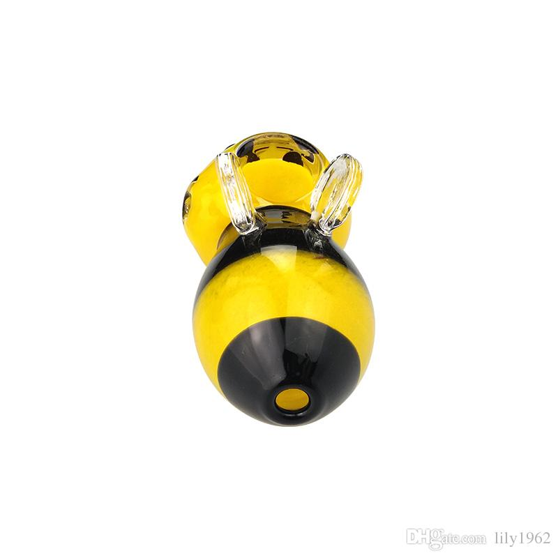 Yellow bee Manufacturer smoking glass pipe new design picture hand pipes glass smoking pipe hand pipes glass pipes bubblers 3.5inches