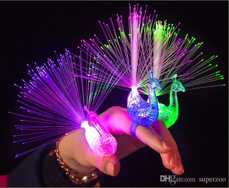 2018 Led Flash Rings Led Light Up Peacock Finger Toys For Kids