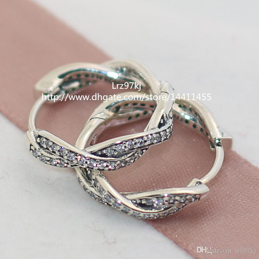 100% hoogwaardige 925 sterling zilveren twist van het met duidelijke CZ-hoepel oorbellen past Europese pandora sieraden ring
