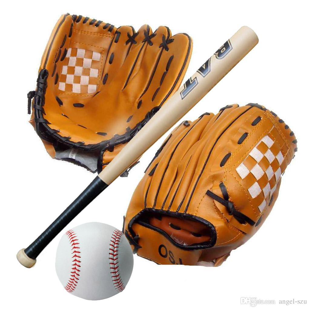 2016 New 1pc 24 Inch Wooden Baseball Bat 1pc 105 Youth Baseball Glove 1pc Training Ball Kid Baseball Set Free Dhl E431j