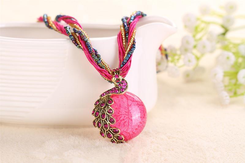 Новая мода ожерелье кулон старинные смолы бусины чешский этнический стиль колье ожерелье заявление ювелирные изделия для женщин