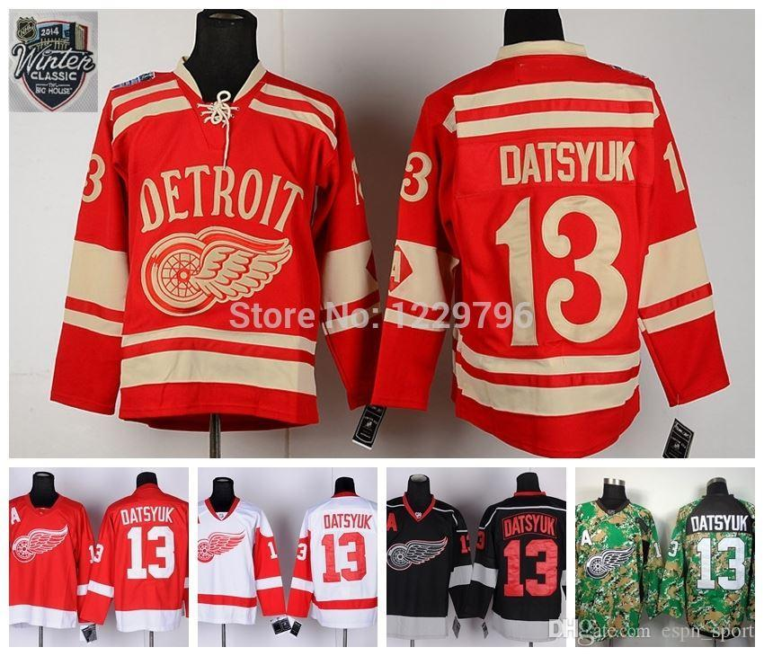 Detroit Red Wings Pavel Datsyuk Hockey Jerseys Home Red White Black ... b710bc1a5