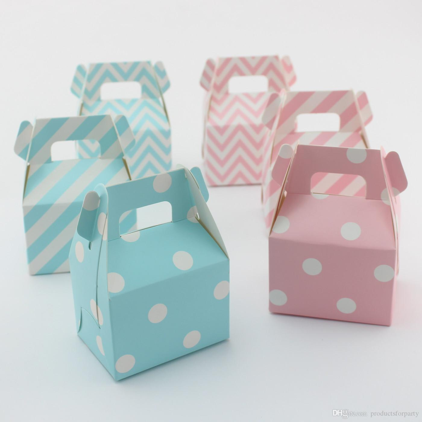 Baby Party Supplies Chevron Gable Paper Boxes Wedding Favor Candy