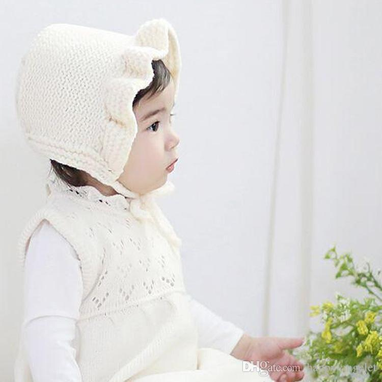 bebé Classic Warm Soft Gorro de punto de lana tejida Hot Winter Warm princesa Gorros de lana y lana Hood Lindo Unique Deisgn Warmer Cap MZ9108