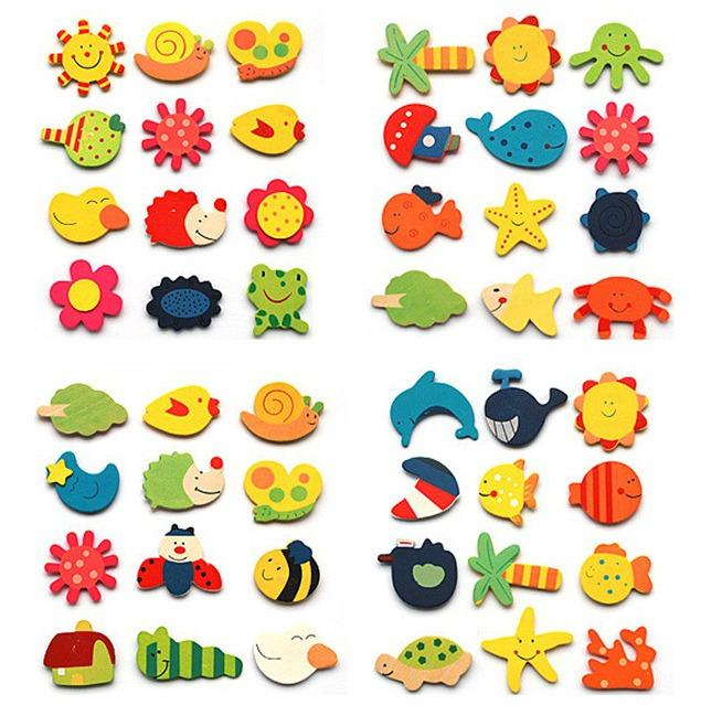 Baby Wood Cartoon Fridge Magnet Gift Animal style Educational Pre-shool wooden toys magnetic stickers Fedex DHL ship