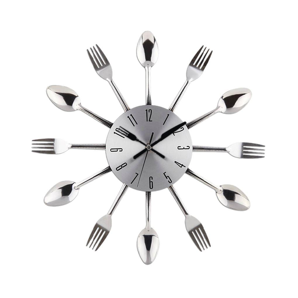cool stylish modern design wall clock silver kitchen cutlery  - cool stylish modern design wall clock silver kitchen cutlery utensilvintage design wall clock spoon fork design home decor small decorativewall clocks