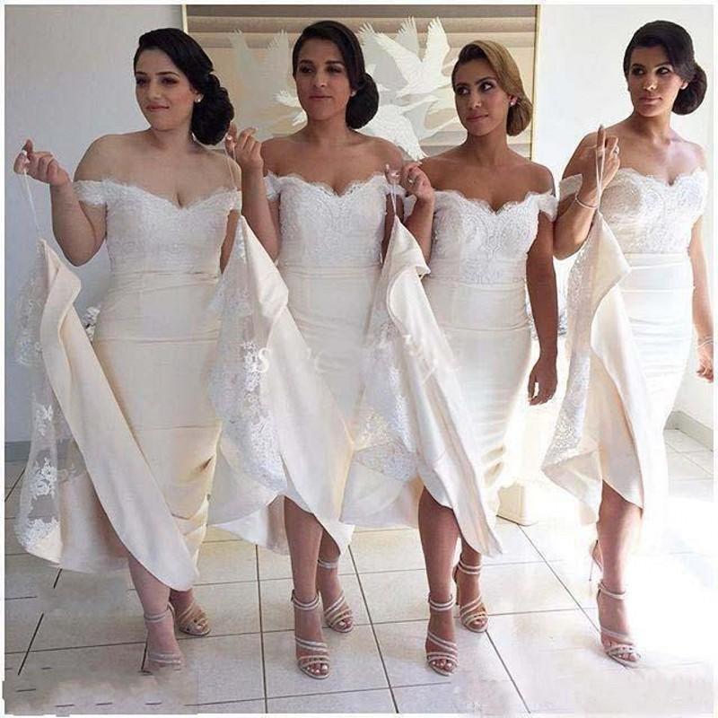 2016 Beige Mermaid Bridesmaid Dresses Off The Shoulder