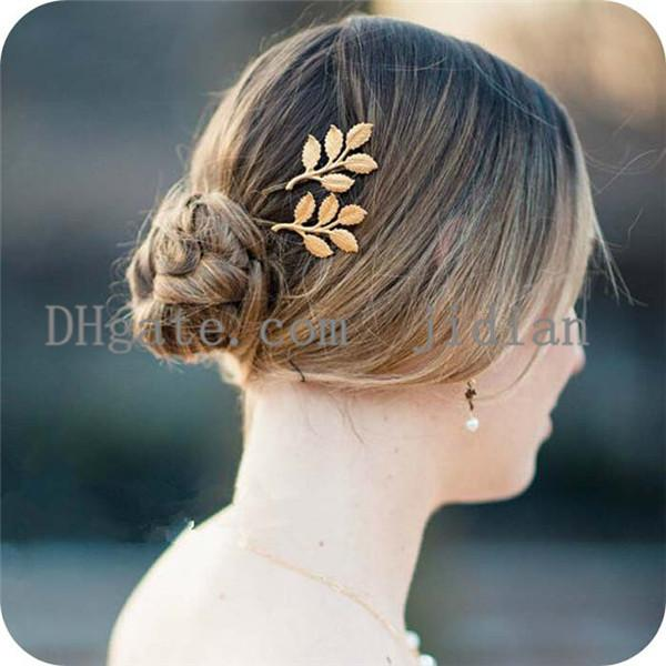 2PCS/LOT Hair Clips Barrettes A Straight Hairpin Gold Leaves Greece Retro Serise Dear Gold Anlter Type Line Type Hair Clips