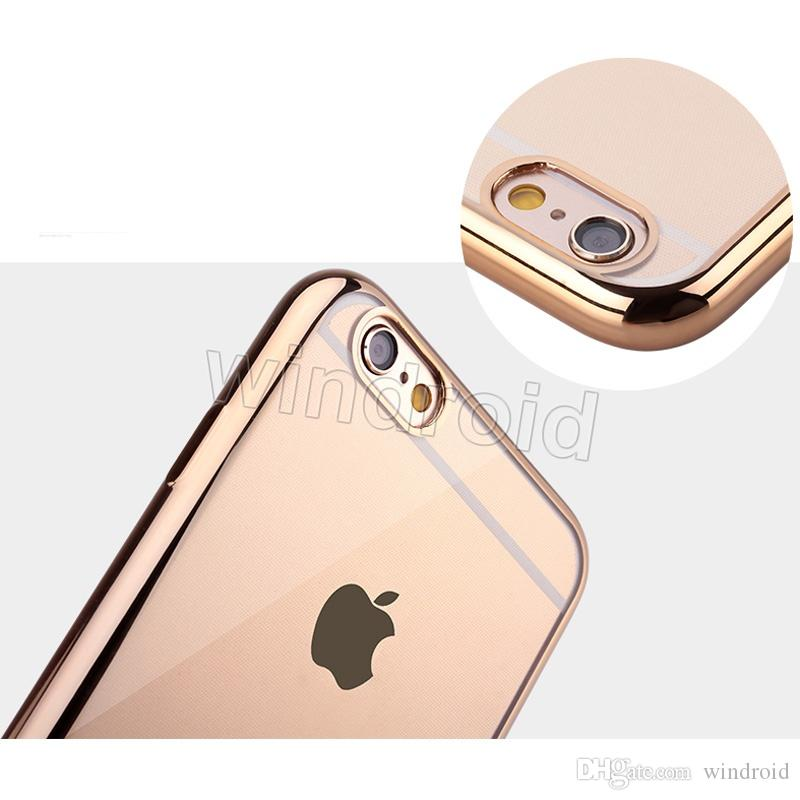Slim Plating TPU silicone soft Case Transparent Clear Back Cover For Apple iPhone 6 6S Plus 5 5S S7 edge Scratch-proof Cases Cheap