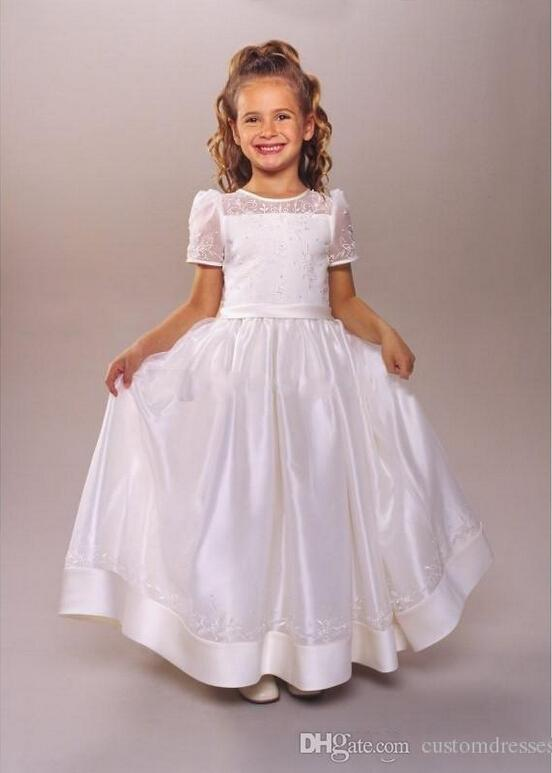 2015 First Communion Dress Jewel T-Shirt Short Sleeve Bow Lace Embroidery Girls Flower Girl Dress 2015 For Wedding