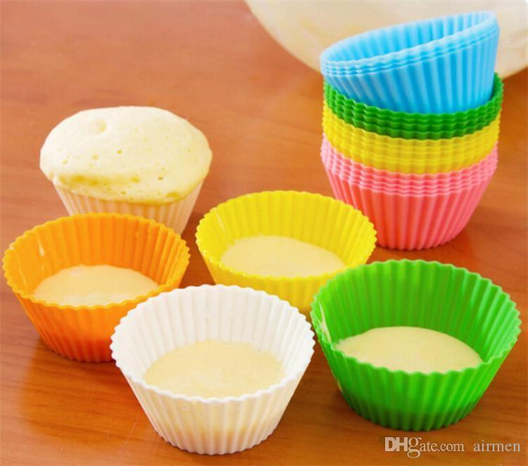 Venta caliente de alta calidad 7 CM cupcake pastel de silicona Moldes para tazas cajas de muffins de pastel moldes de chocolate de silicona solo soporte para cupcakes herramientas para hornear