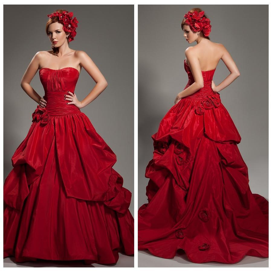2015 Deep Red Prom Dresses Ball Gown Bridal Gowns Cheap Modest ...