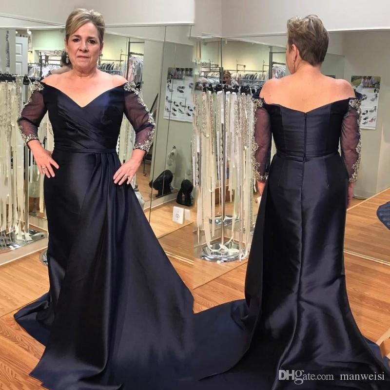 Elegant Dark Navy Mother Of The Bride Dresses 3/4 Sleeve Off The Shoulder  Lace Appliques Mothers Outfit Plus Size Formal Evening Gowns Mothers  Dresses ...