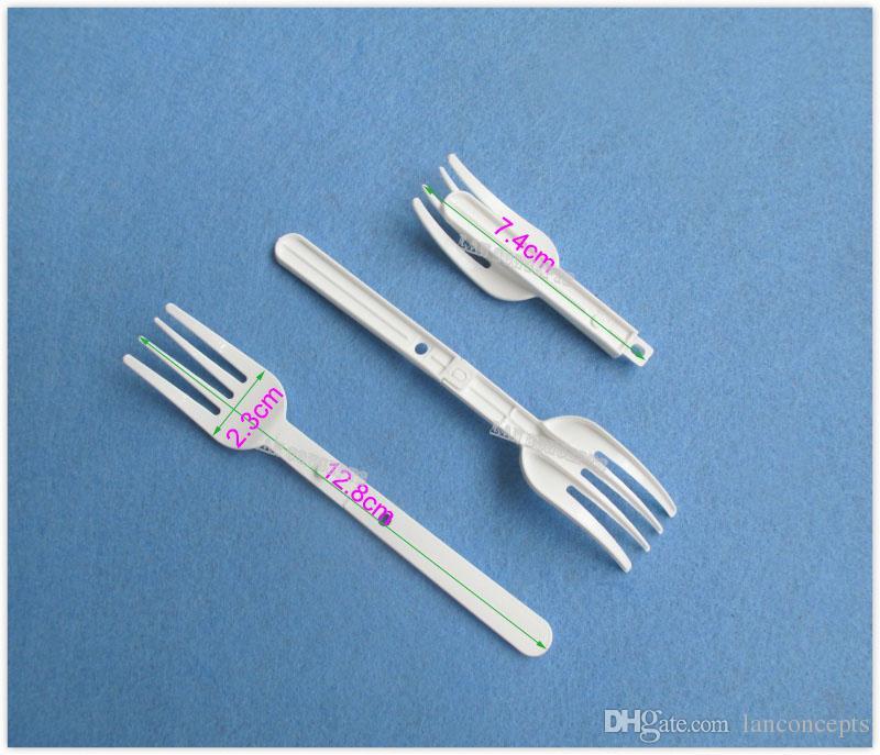 Plastic Folding Noodle Forks HDPE Food Fork - white /OP906 12.8 x 2.3cm